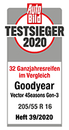 Testlabel Auto Bild 2020 - Goodyear Vector 4Seasons  Gen-3